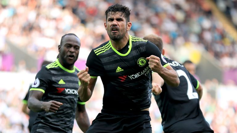 Diego Costa second goal celeb, Swansea City v Chelsea, Premier League