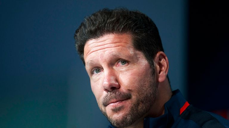 Diego Simeone attends a press conference during the Atletico Madrid Open Media Day