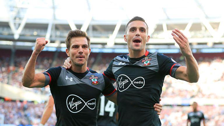 Dusan Tadic (right) celebrates goal at West Ham