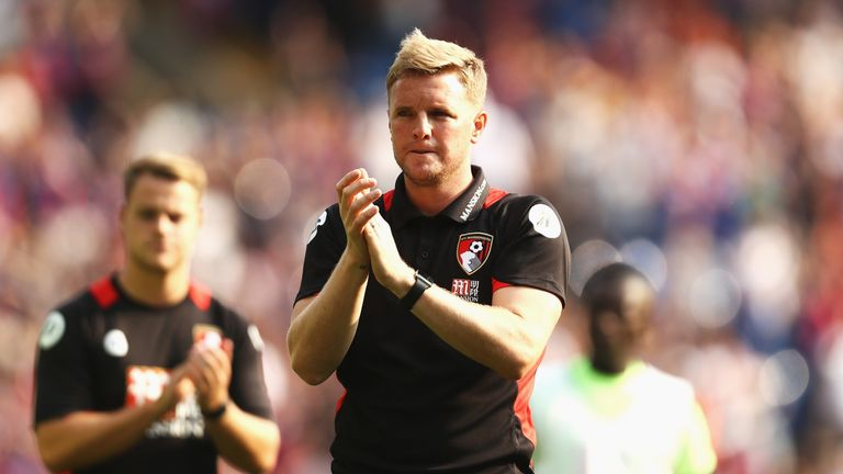 Eddie Howe, Manager of Bournemouth claps the fans after the final whistle against Crystal Palace