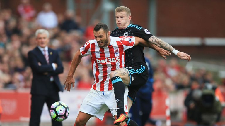 Erik Pieters twice wanted a penalty for challenges on him but was denied