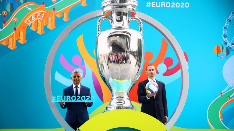 (L-R) Mayor of London Sadiq Khan and UEFA president Aleksander Ceferin pose during the UEFA EURO 2020 launch event