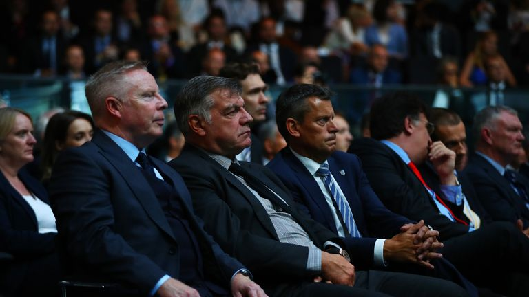 England manager Sam Allardyce is flanked by his assistant Sammy Lee and FA chief executive Martin Glenn at the Euro 2020 launch event