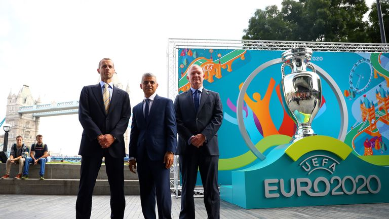 (l-r) UEFA president Aleksander Ceferin, Mayor of London Sadiq Khan and FA chairman Greg Clarke at the Euro 2020 launch