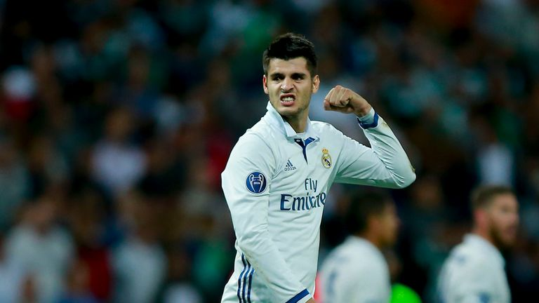 Alvaro Morata of Real Madrid CF celebrates after winning the UEFA Champions League group stage match
