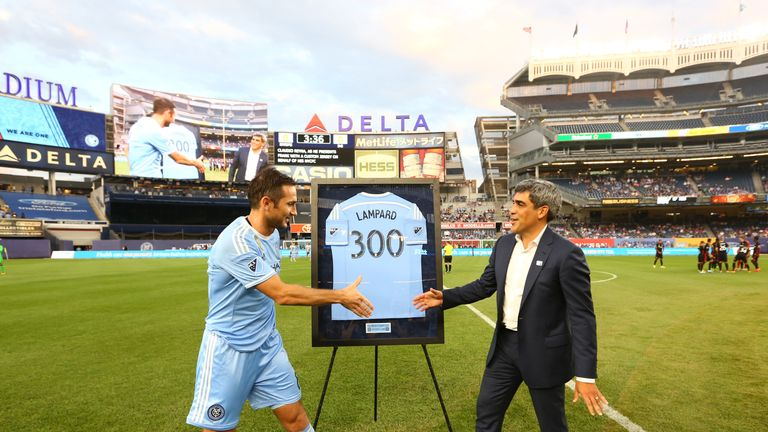 Frank Lampard was presented with a '300' shirt on Thursday