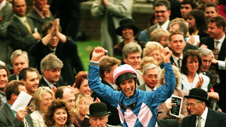 Frankie Dettori celebrates after winning the Gordon Carter Stakes on Fujiyama Crest to achieve a record of winning all seven winners at Ascot