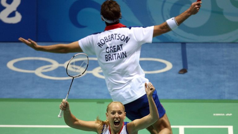 Gail Emms won silver in the badminton mixed doubles at the 2004 Olympics