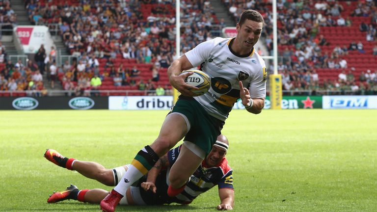 George North breaks clear to score Northampton's first try at Ashton Gate
