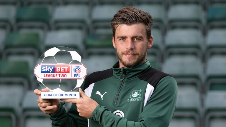 Graham Carey of Plymouth with the Sky Bet League Two Goal of the Month award
