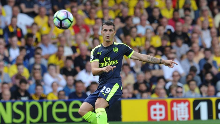 Granit Xhaka in action for Arsenal against Watford