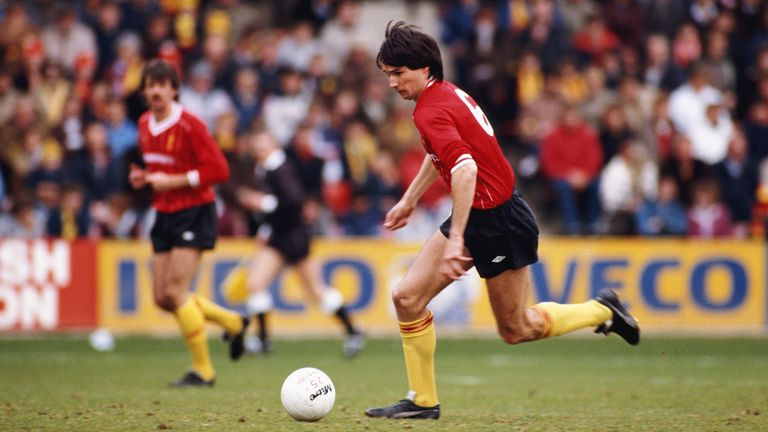WATFORD, UNITED KINGDOM - MARCH 31:  Liverpool centre back pairing Mark Lawrenson (l) and Alan Hansen in action during a League Division One match between