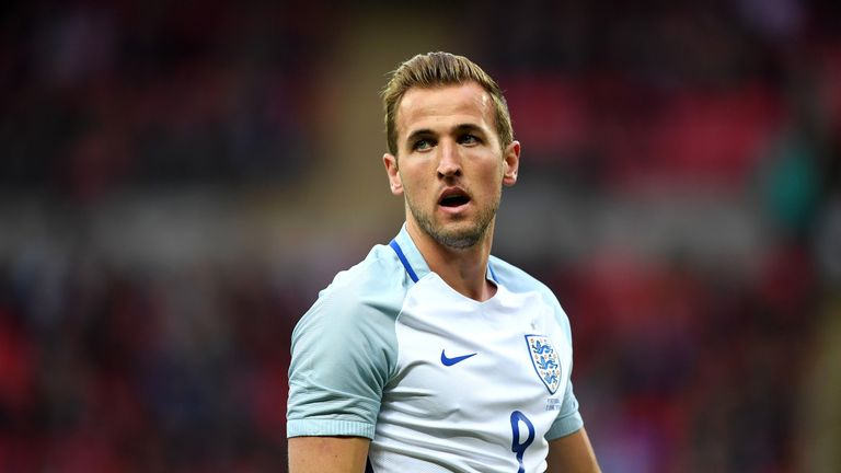 Harry Kane in action during the friendly between England and Portugal at Wembley