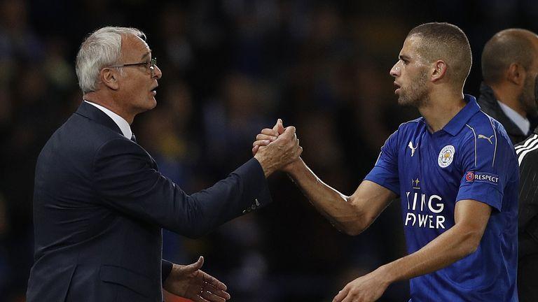 Leicester manager Claudio Ranieri congratulates striker Islam Slimani