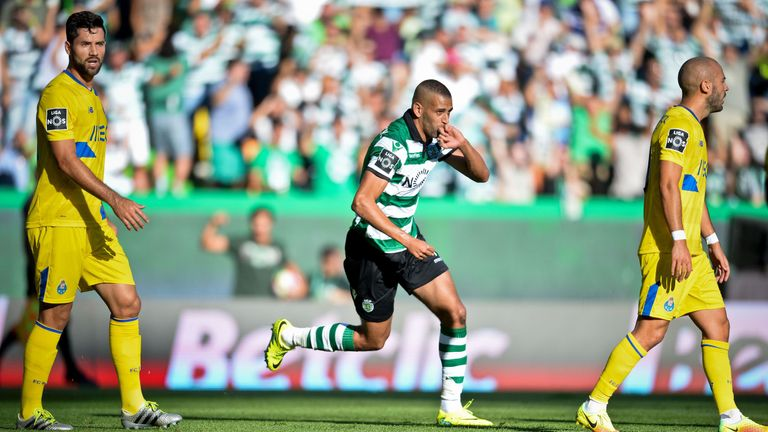 Sporting's Islam Slimani celebrates after scoring during the Portuguese league football match against Porto in August 2016