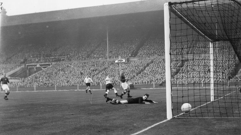 Jackie Sewell scores England's first goal in the 6-3 defeat to Olympic champions Hungary at Wembley in 1953