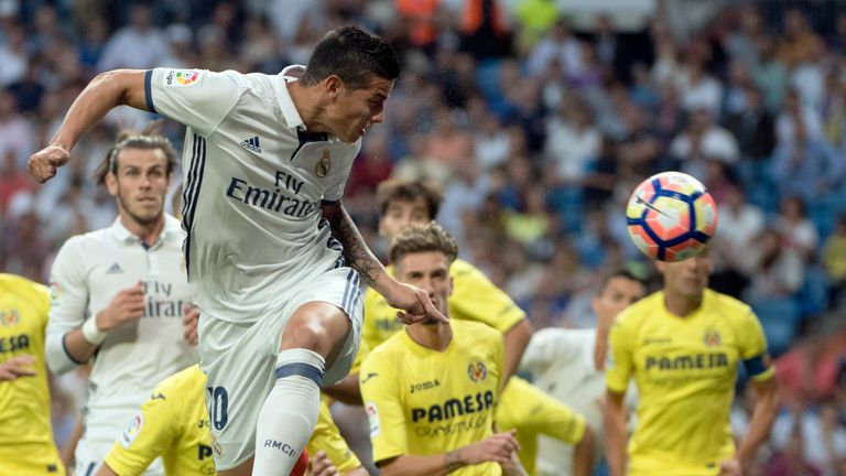 James Rodriguez heads towards goal in the first half