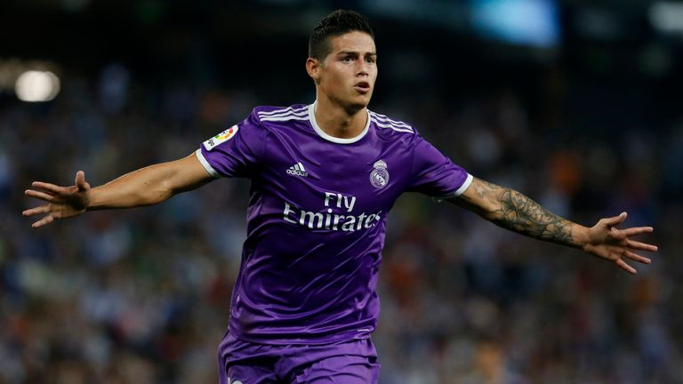 Real Madrid's Colombian midfielder James Rodriguez celebrates after scoring the opener
