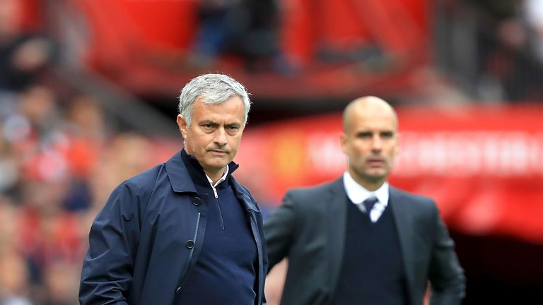 Jose Mourinho and Pep Guardiola on the touchline during the Manchester derby