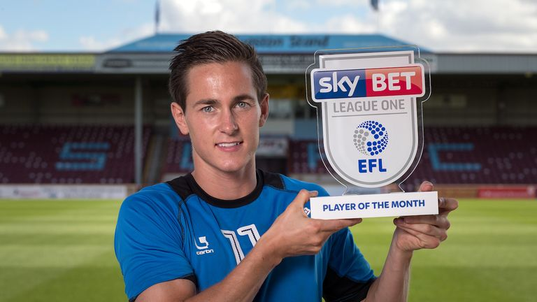 Josh Morris of Scunthorpe with the Sky Bet League One Player of the Month award