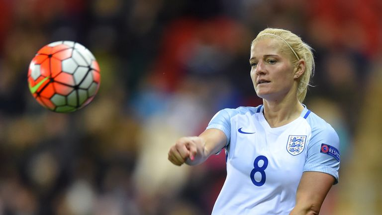 ROTHERHAM, ENGLAND - APRIL 08:  Katie Chapman of England in action during the UEFA Women's European Qualifer between England and Belgium at The New York St