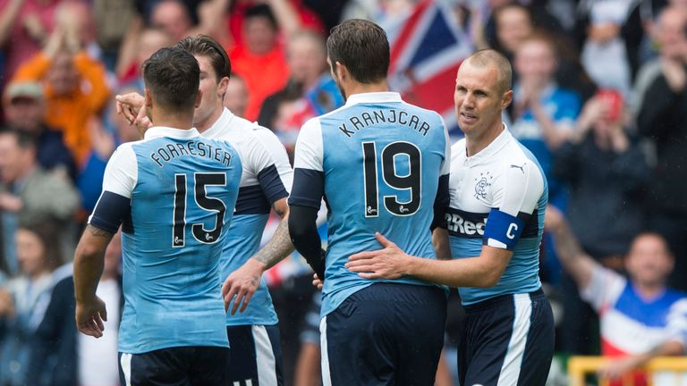 Kenny Miller celebrates during the Rangers win over Linfield