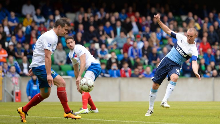 Miller scores his fourth and Rangers' sixth goal of the game against Linfield