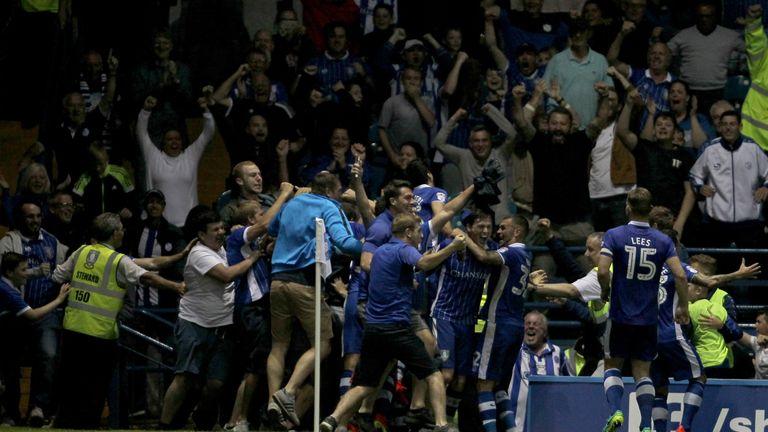 Sheffield Wednesday fans celebrate after Kieran Lee scores the winner v Bristol City