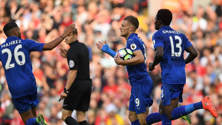 Vardy's last goal came against Liverpool at Anfield in a 4-1 defeat