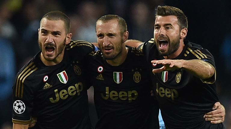 Leonardo Bonucci (left) was also on target for Juventus in Serie A