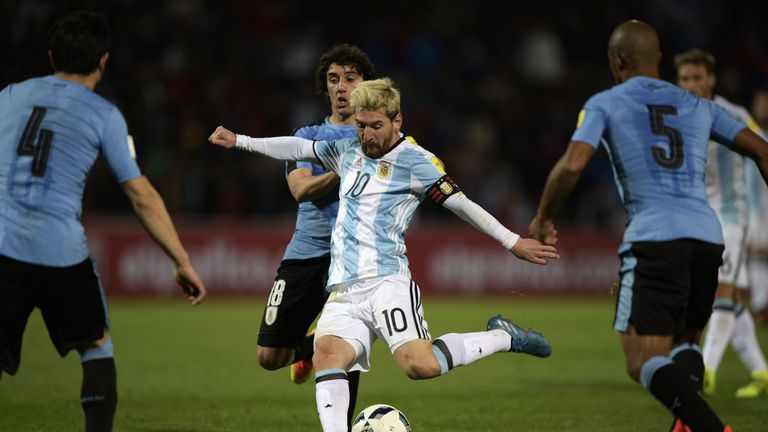 Messi shoots to score in the FIFA World Cup 2018 qualifier