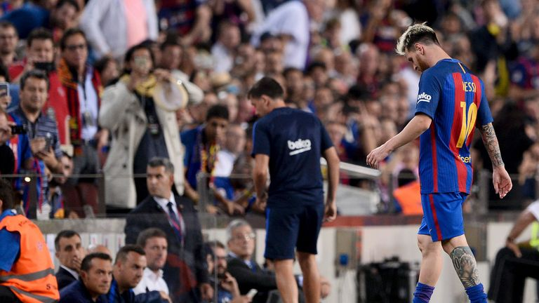 Lionel Messi went off injured with a groin strain for Barcelona in the second half