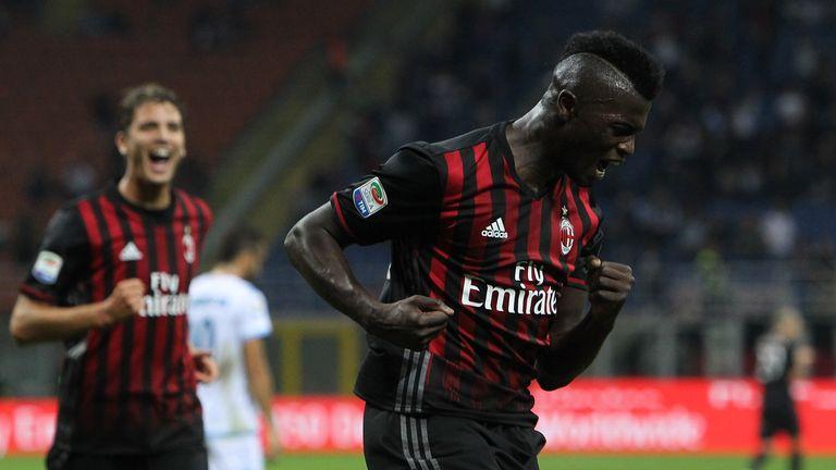 M' Baye Niang of AC Milan celebrates his goal