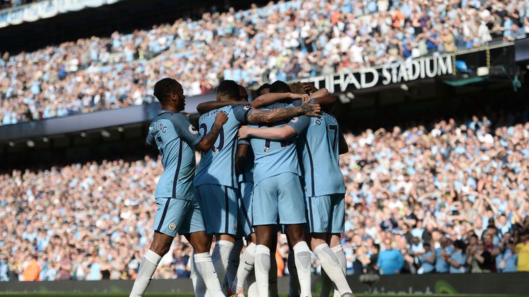 Manchester City players celebrate Kevin De Bruyne's opening goal against Bournemouth