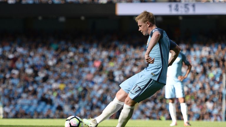 Kevin de Bruyne nets the opening goal at teh Etihad