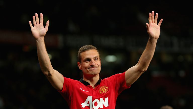 Nemanja Vidic of Manchester United salutes the fans after his final home game for the club