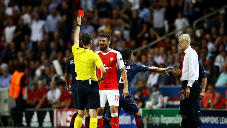 Olivier Giroud was sent off in added time against PSG