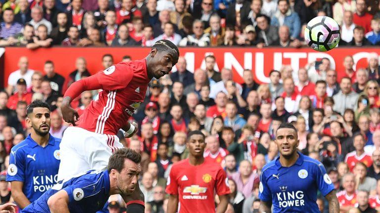 Paul Pogba goal, Manchester United v Leicester City, Premier League