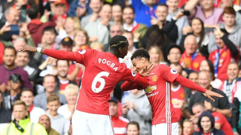 Manchester United midfielder Paul Pogba (left) and Jesse Lingard celebrate