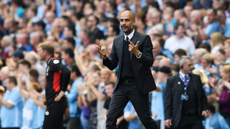 MANCHESTER, ENGLAND - SEPTEMBER 17:  Josep Guardiola, Manager of Manchester City reacts during the Premier League match between Manchester City and AFC Bou