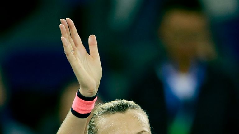 Petra Kvitova celebrates after defeating Konta in the last eight of the Wuhan Open