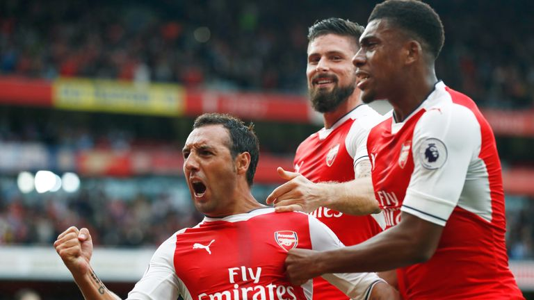 Santi Cazorla celebrates scoring his the match winning goal for Arsenal