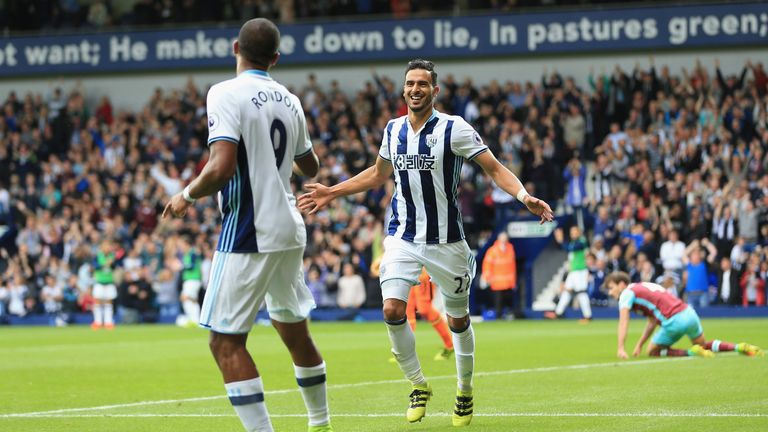 Nacer Chadli celebrates scoring in West Brom's win over West Ham