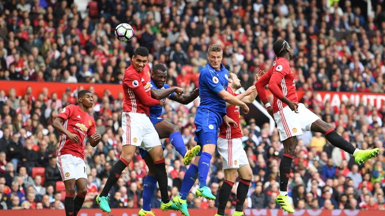 Chris Smalling heads the ball towards goal