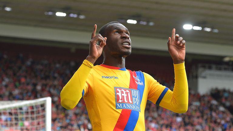 Christian Benteke celebrates scoring for Crystal Palace