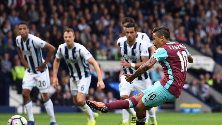 Manuel Lanzini scores from the spot against West Brom for West Ham's second