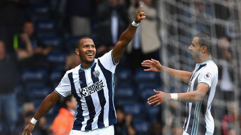 Salomon Rondón of West Bromwich Albion (L) celebrates scoring his sides second goal with Nacer Chadli