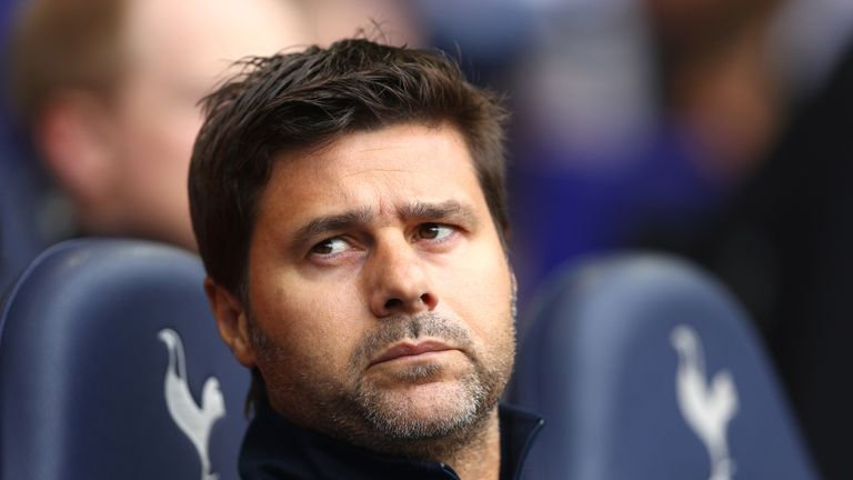 Mauricio Pochettino looks on from the bench at White Hart Lane