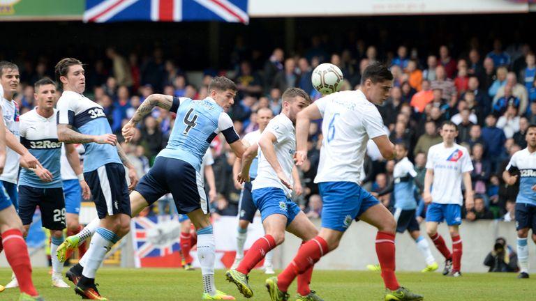 Rob Kiernan scores Rangers' third goal of the game against Linfield