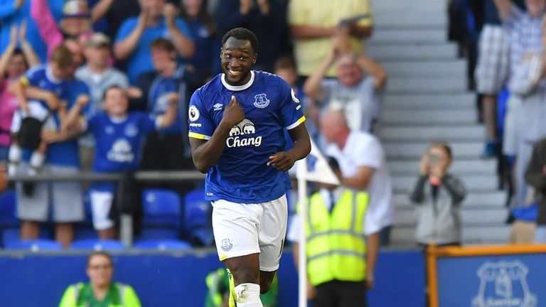 Everton's Romelu Lukaku celebrates scoring his side's third goal of the game v Middlesbrough during the Premier League match at Goodison Park, Liverpool